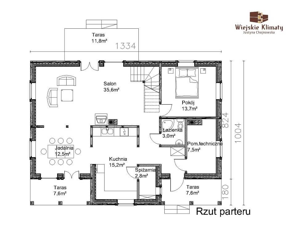 projekt domu z bali jutrznia 1,1