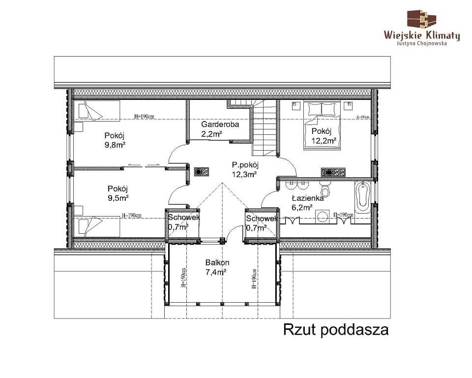 projekt domu z bali jutrznia 1,2
