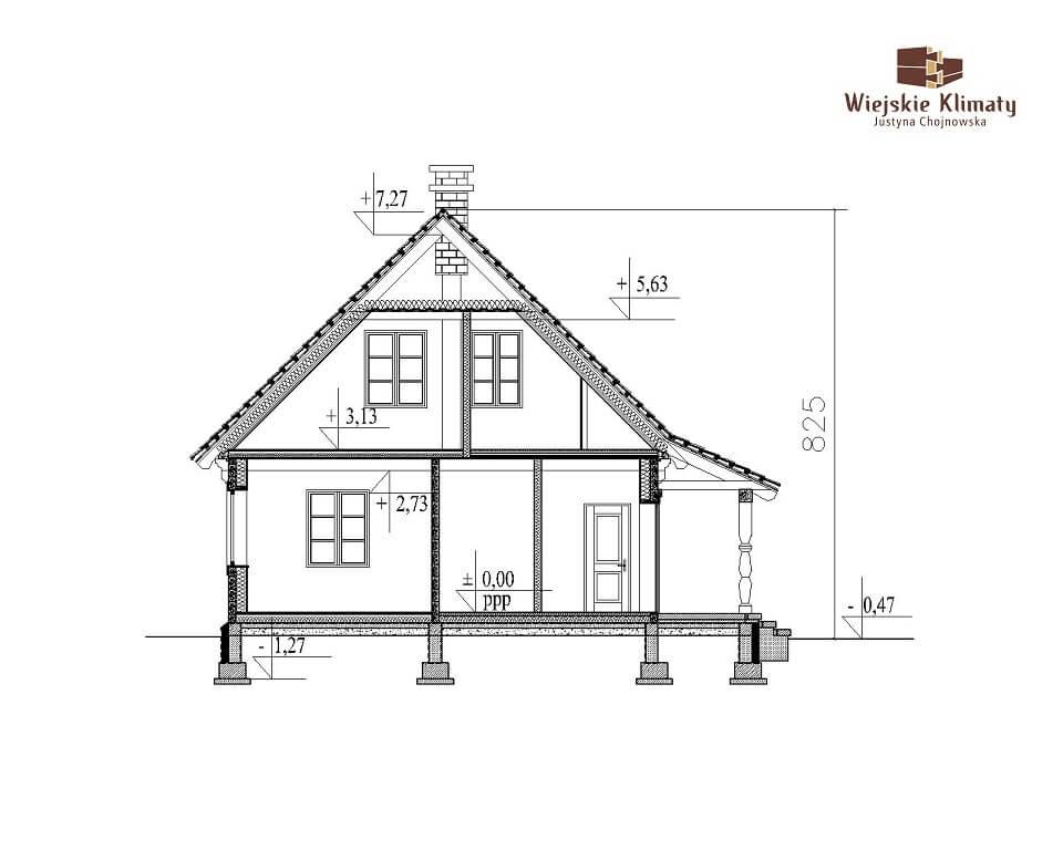 projekt domu z bali jutrznia 1,7