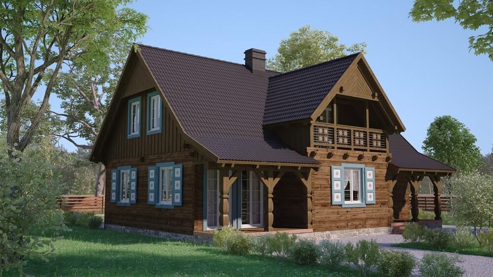 projekt domu z bali jutrznia 1,9