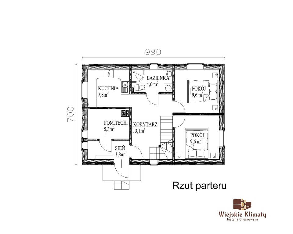 projekt domu z bali panienka 1,1