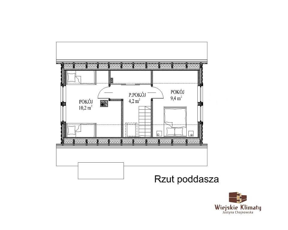 projekt domu z bali panienka 1,2