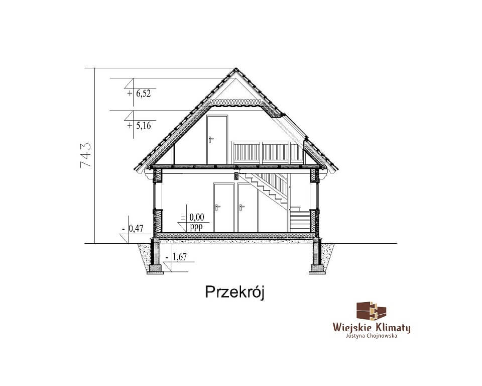 projekt domu z bali panienka 1,7