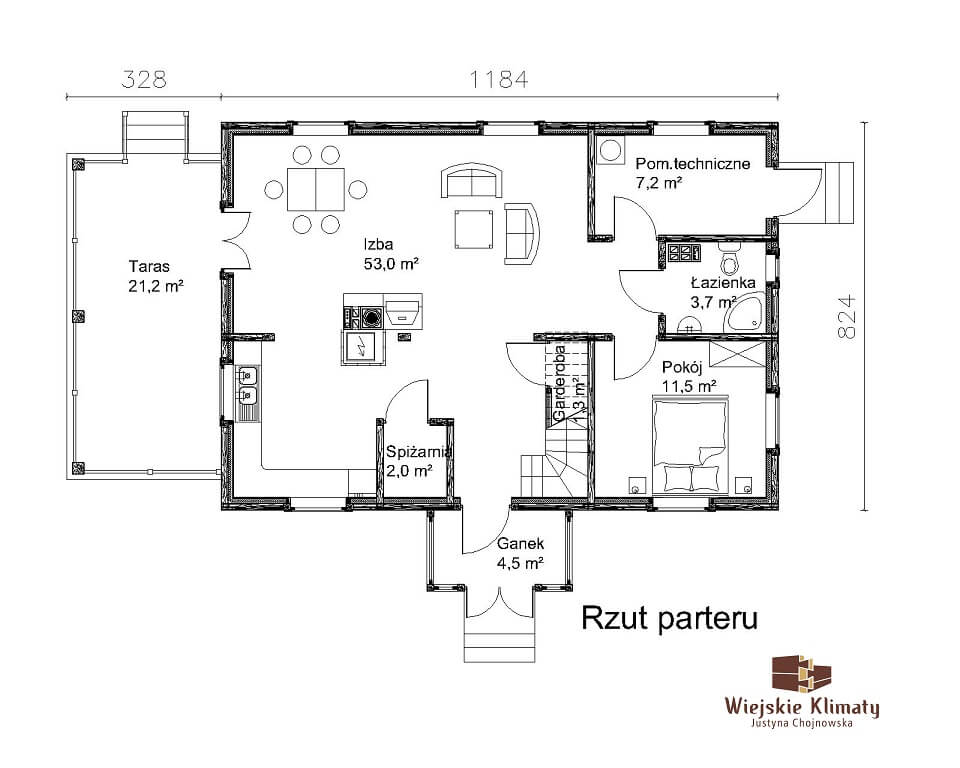 projekt drewnianego domu kurpiowskiego kurpik 1.1