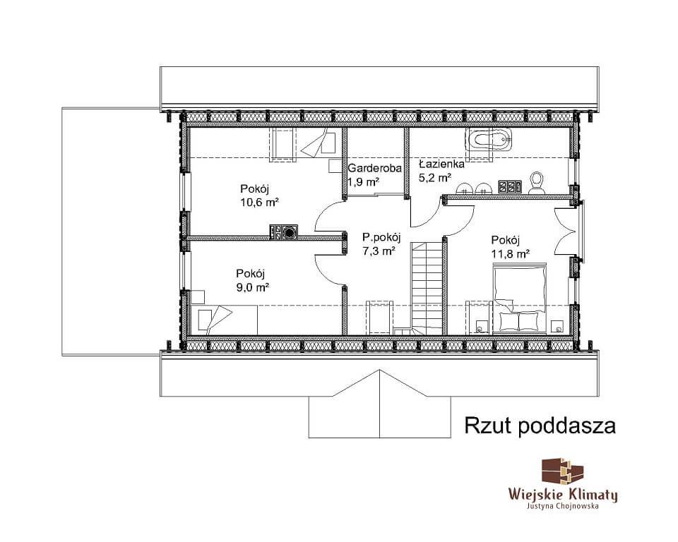 projekt drewnianego domu kurpiowskiego kurpik 1.2