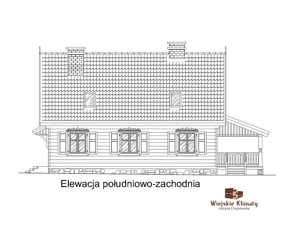 projekt drewnianego domu kurpiowskiego kurpik 1.4