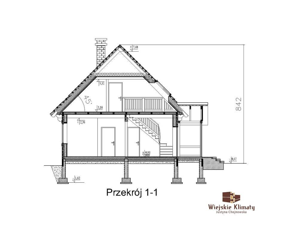 projekt drewnianego domu kurpiowskiego kurpik 1.7