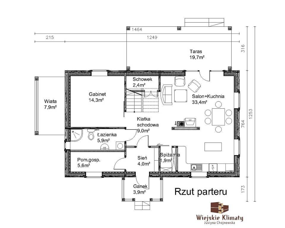 projekt drewnianego domu mazurskiego borowina 1.1