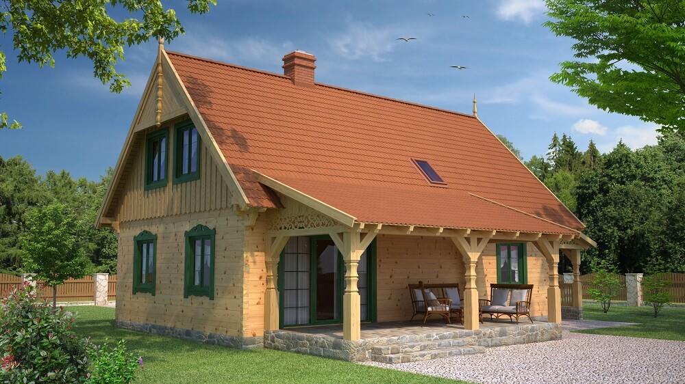 projekt drewnianego domu mazurskiego borowina 1.10