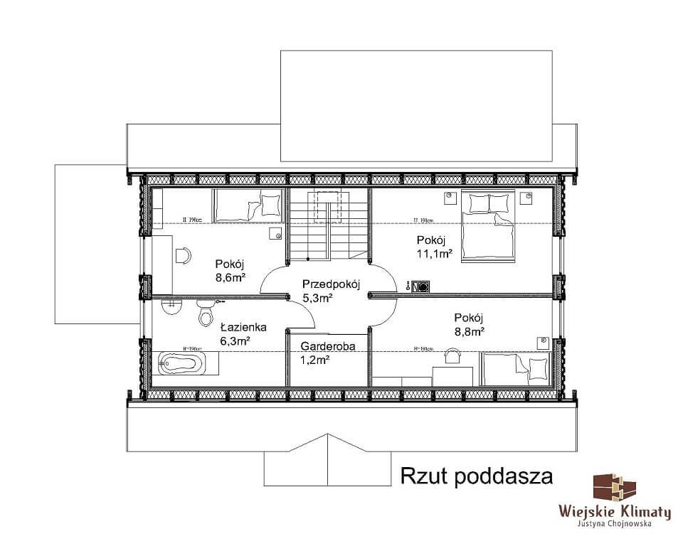 projekt drewnianego domu mazurskiego borowina 1.2