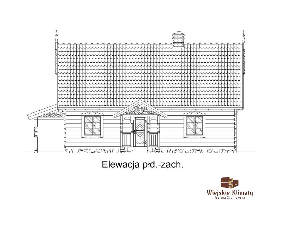projekt drewnianego domu mazurskiego borowina 1.3