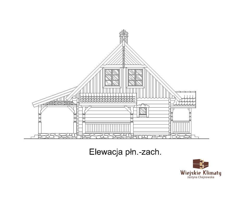projekt drewnianego domu mazurskiego borowina 1.5