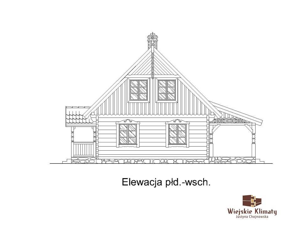 projekt drewnianego domu mazurskiego borowina 1.6