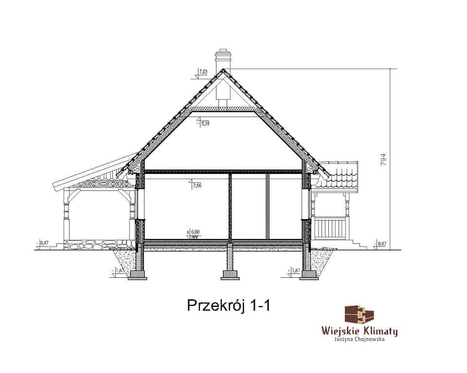 projekt drewnianego domu mazurskiego borowina 1.7