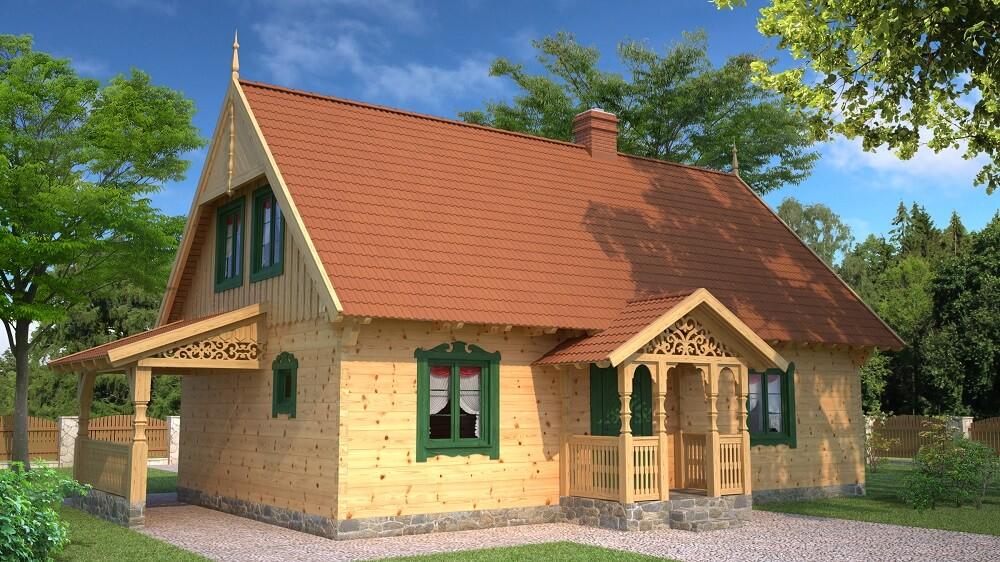 projekt drewnianego domu mazurskiego borowina 1.9