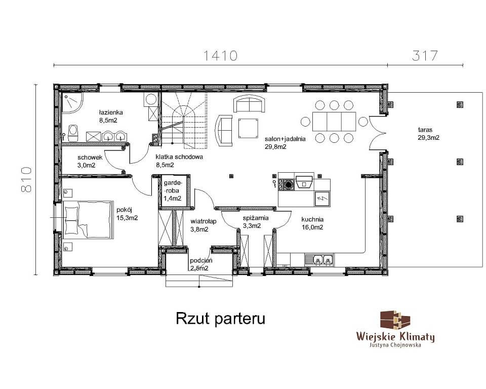 projekt drewnianego domu podlaskiego doświatek 1,1