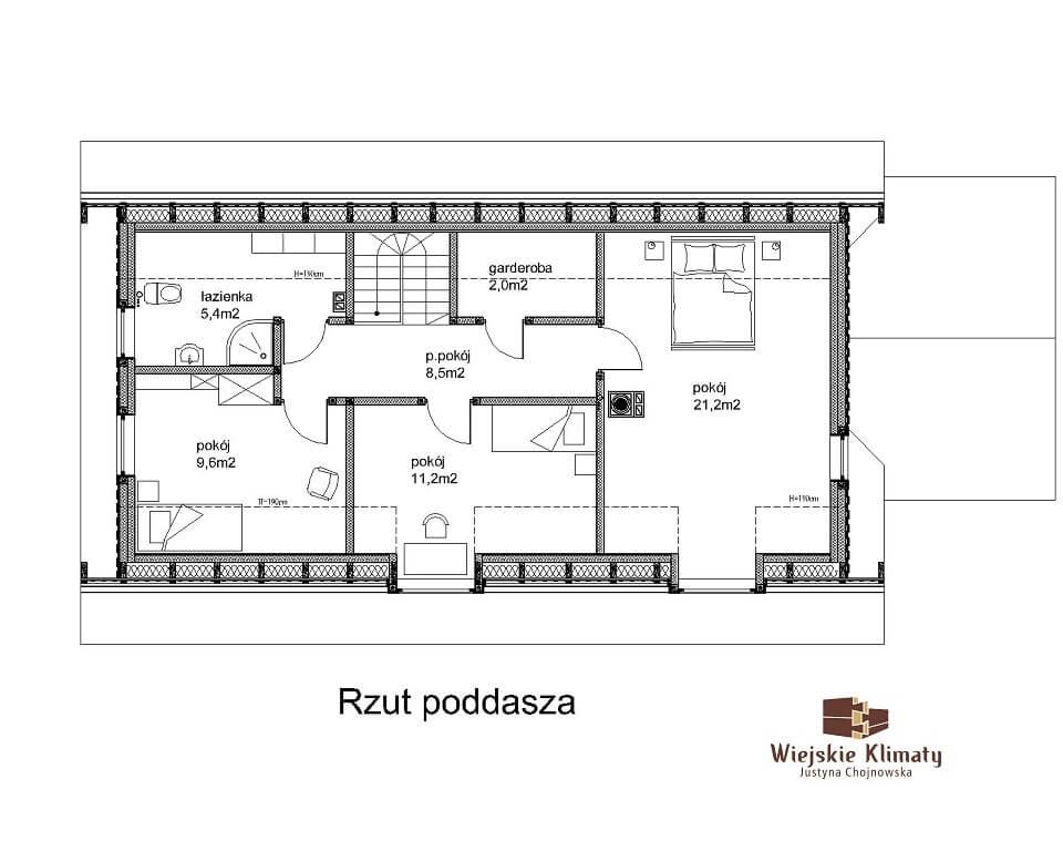 projekt drewnianego domu podlaskiego doświatek 1,2