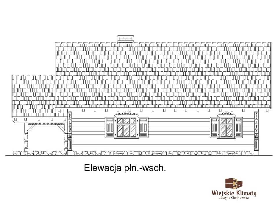 projekt drewnianego domu podlaskiego doświatek 1,4