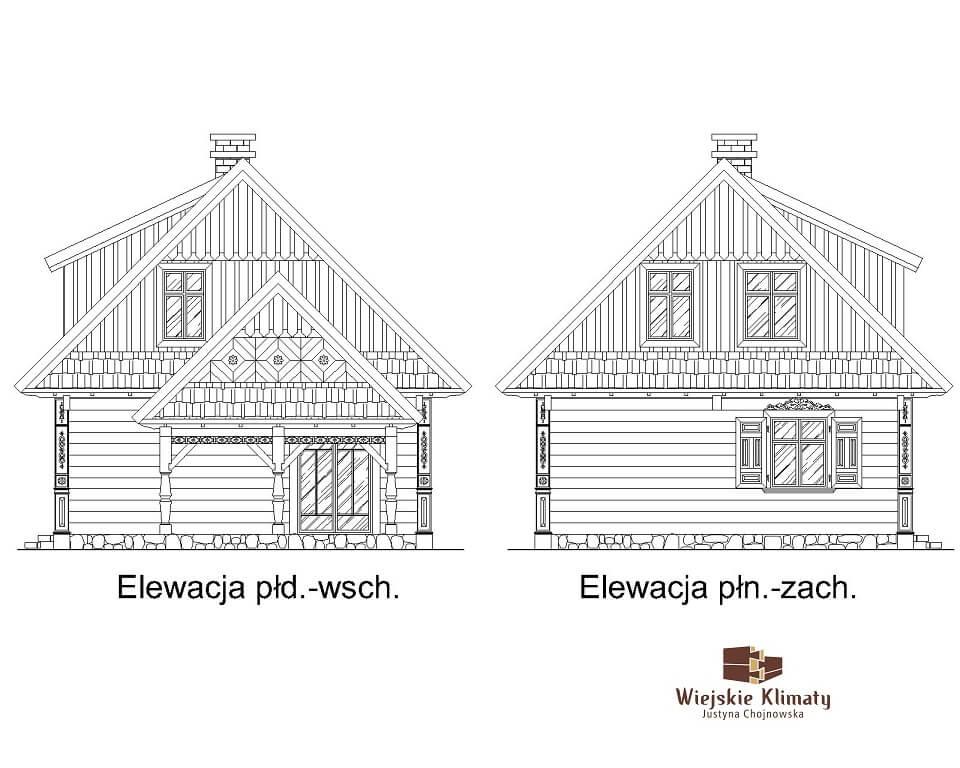 projekt drewnianego domu podlaskiego doświatek 1,5