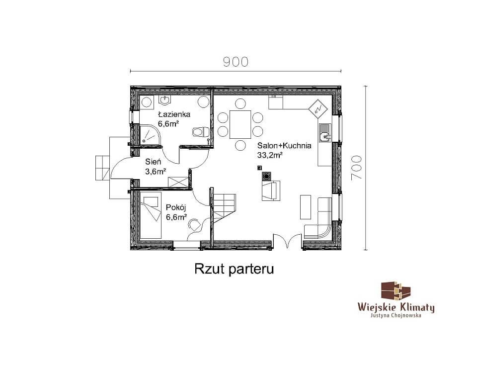 projekt małego domu z bali kukiełka 1,1