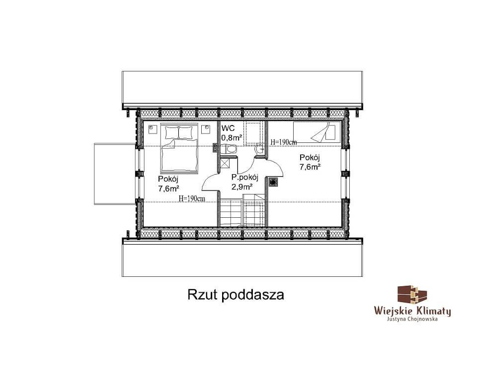 projekt małego domu z bali kukiełka 1,2
