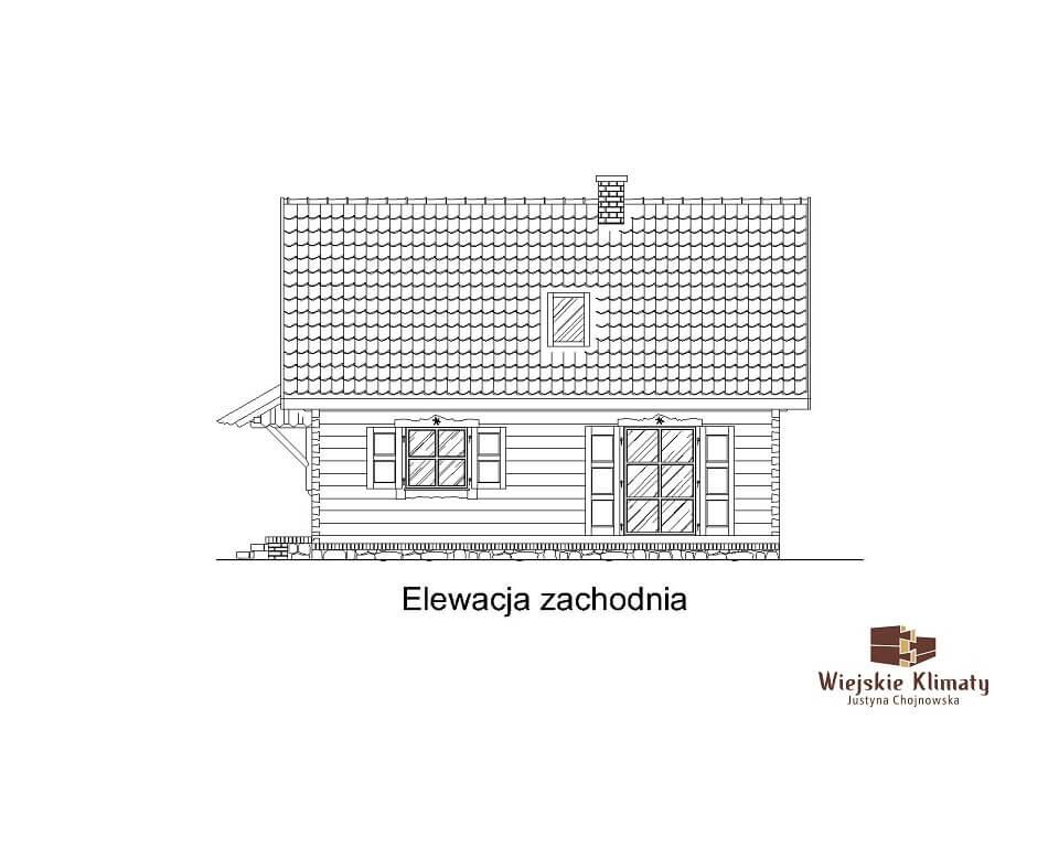 projekt małego domu z bali kukiełka 1,3