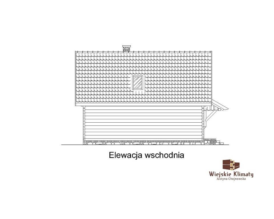 projekt małego domu z bali kukiełka 1,4