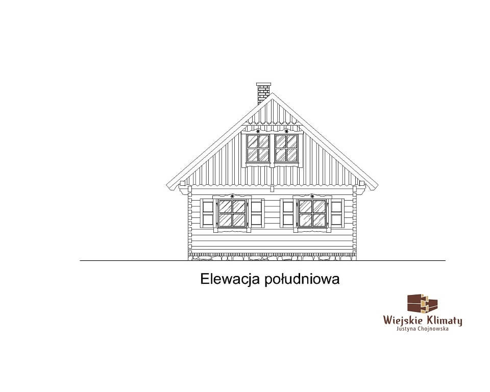 projekt małego domu z bali kukiełka 1,5