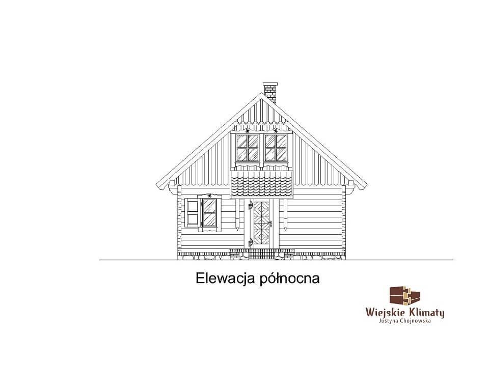 projekt małego domu z bali kukiełka 1,6