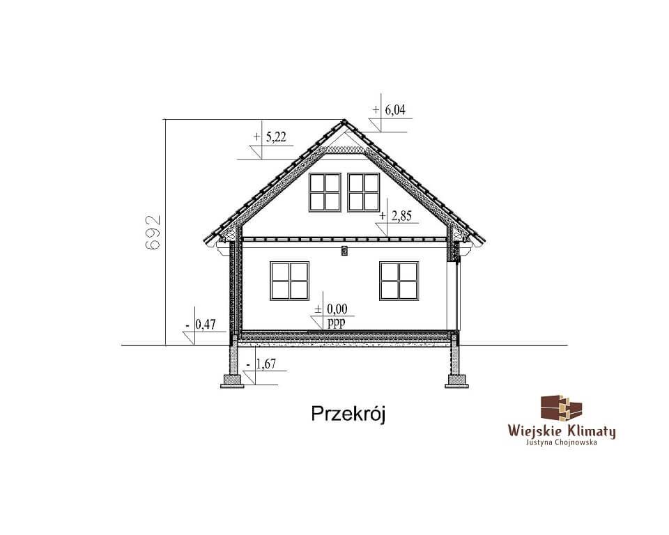 projekt małego domu z bali kukiełka 1,7