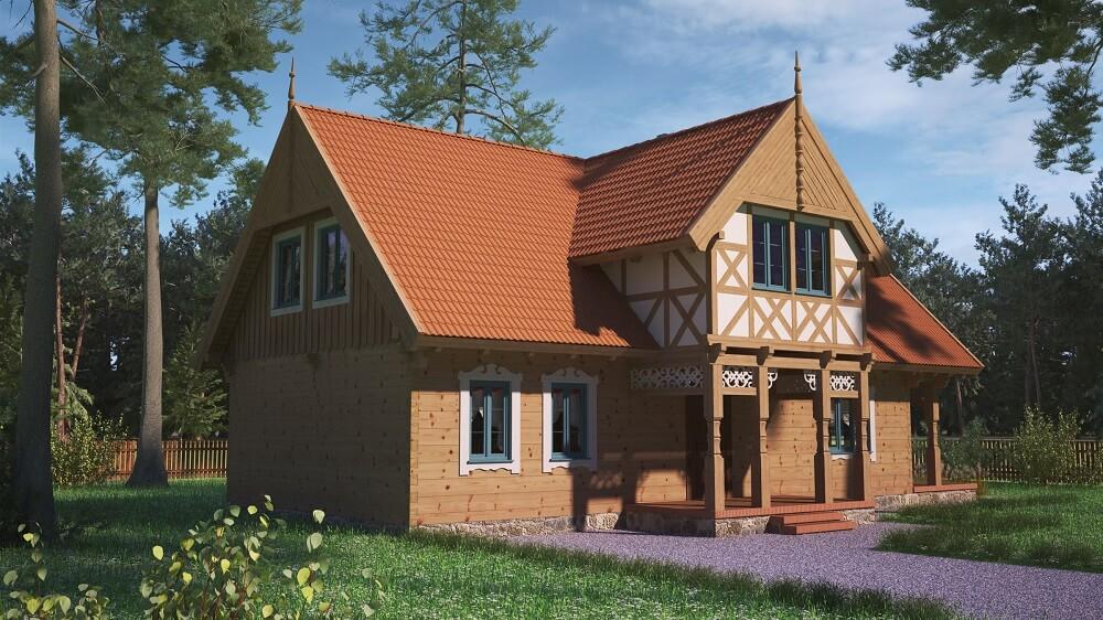 projekt regionalnego domu drewnianego mazurskiego uciecha