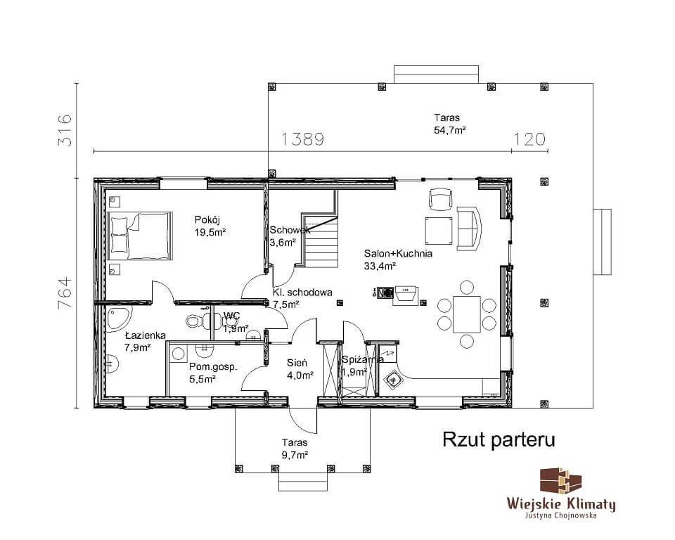projekt regionalnego domu drewnianego mazurskiego uciecha 1,11