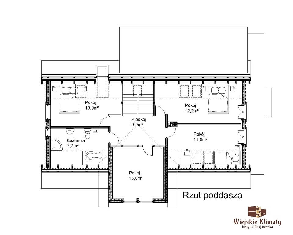 projekt regionalnego domu drewnianego mazurskiego uciecha 1,2