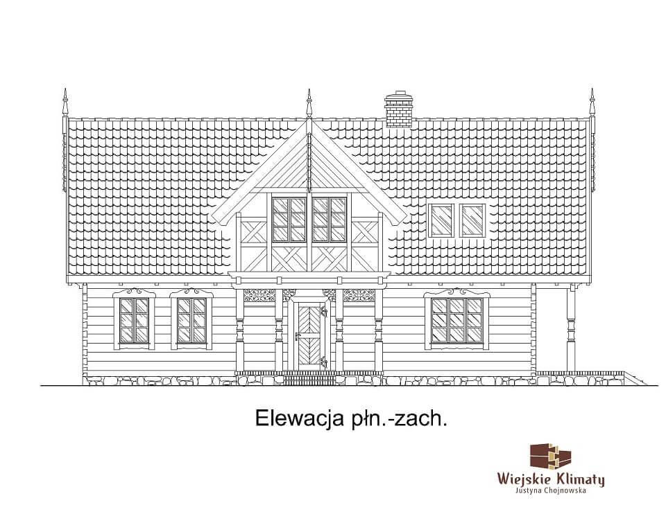 projekt regionalnego domu drewnianego mazurskiego uciecha 1,3