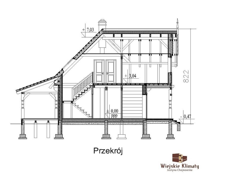 projekt regionalnego domu drewnianego mazurskiego uciecha 1,7