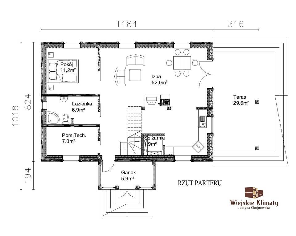 projekt domu drewnianego z bali kampinos 1,1