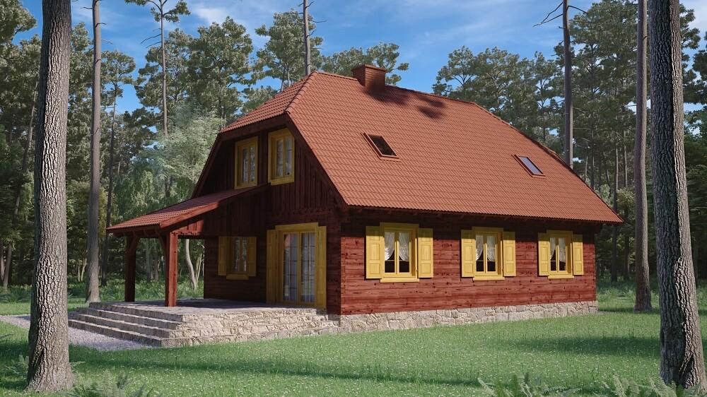 projekt domu drewnianego z bali kampinos 1,10