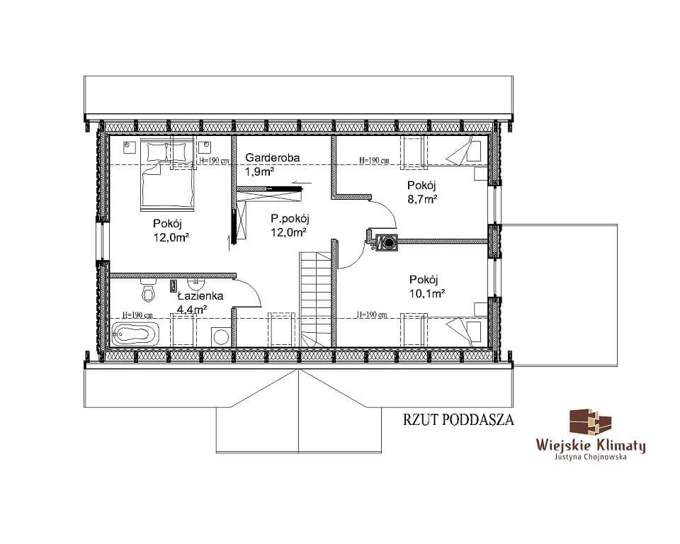 projekt domu drewnianego z bali kampinos 1,2