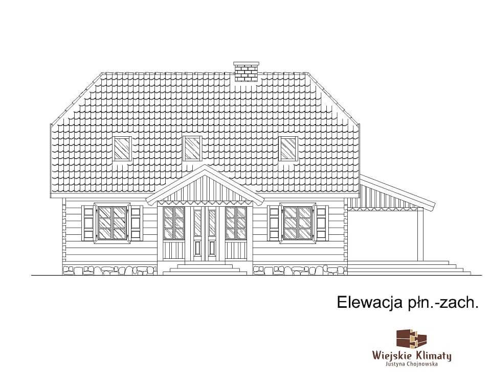 projekt domu drewnianego z bali kampinos 1,3