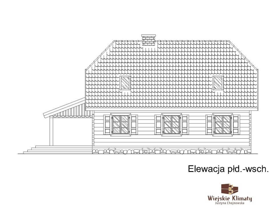 projekt domu drewnianego z bali kampinos 1,4