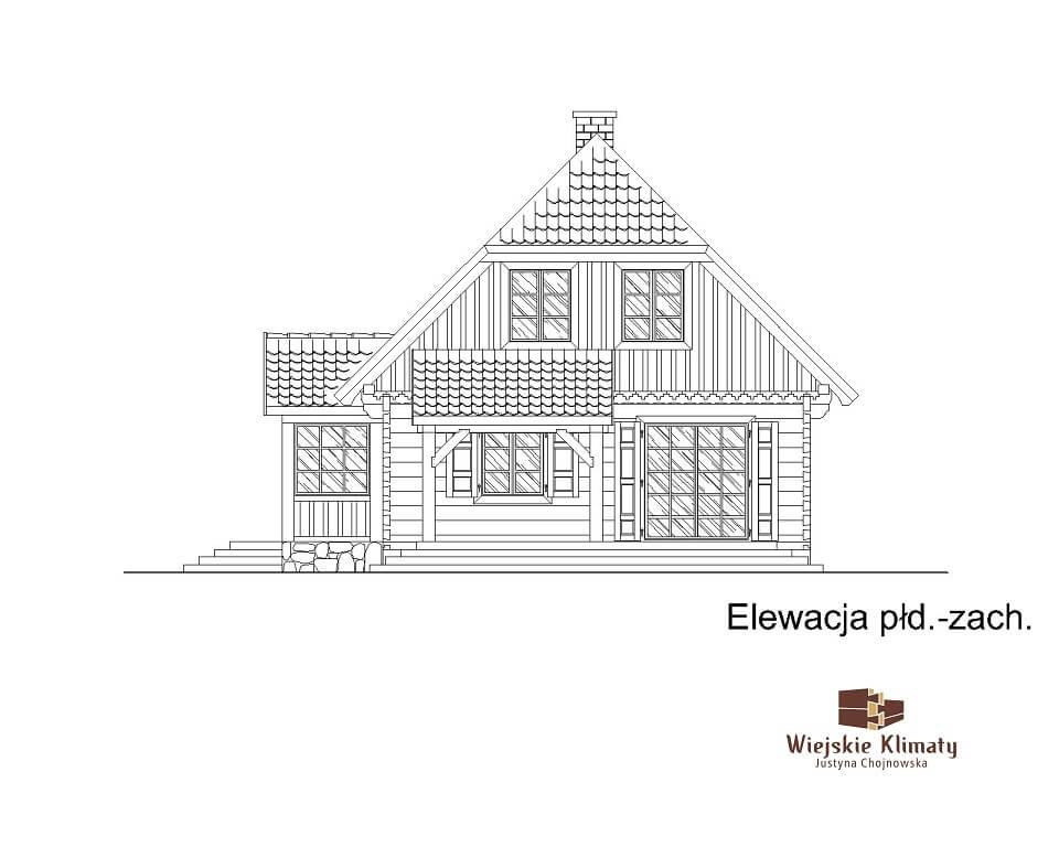 projekt domu drewnianego z bali kampinos 1,5