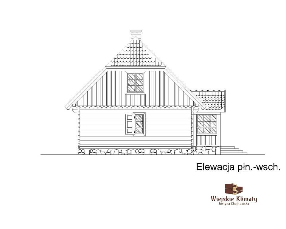 projekt domu drewnianego z bali kampinos 1,6