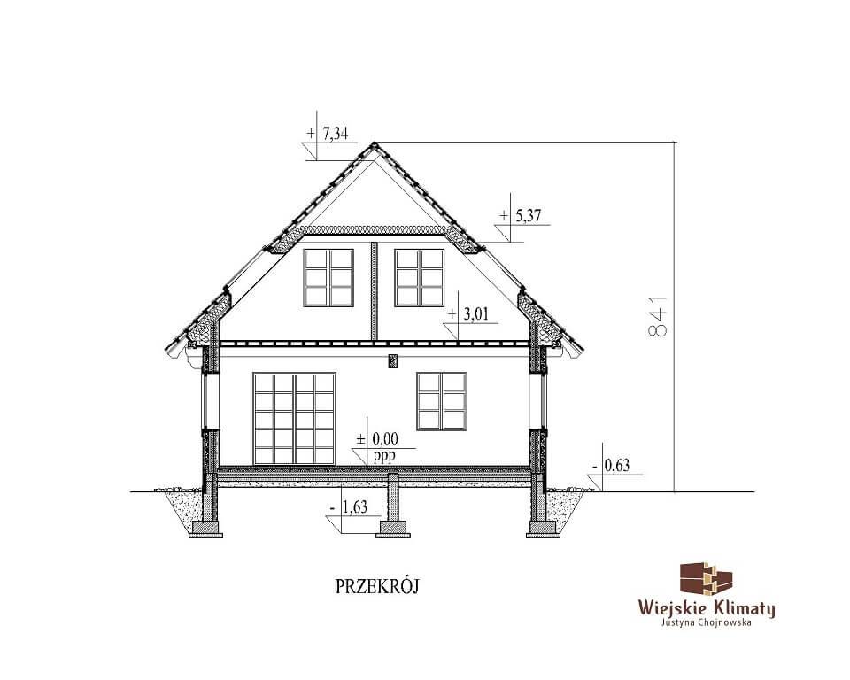 projekt domu drewnianego z bali kampinos 1,7