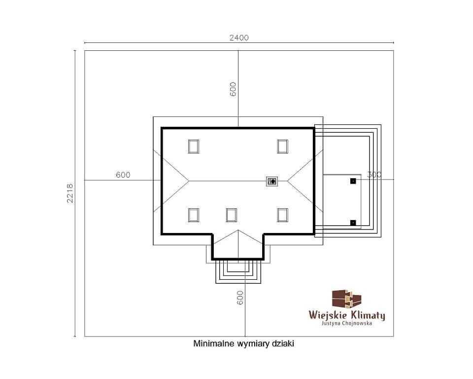 projekt domu drewnianego z bali kampinos 1,8
