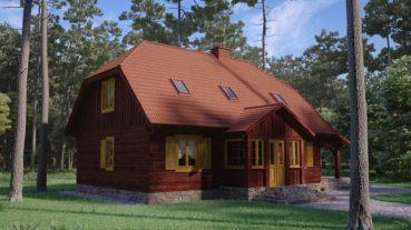 projekt domu drewnianego z bali kampinos 1,9