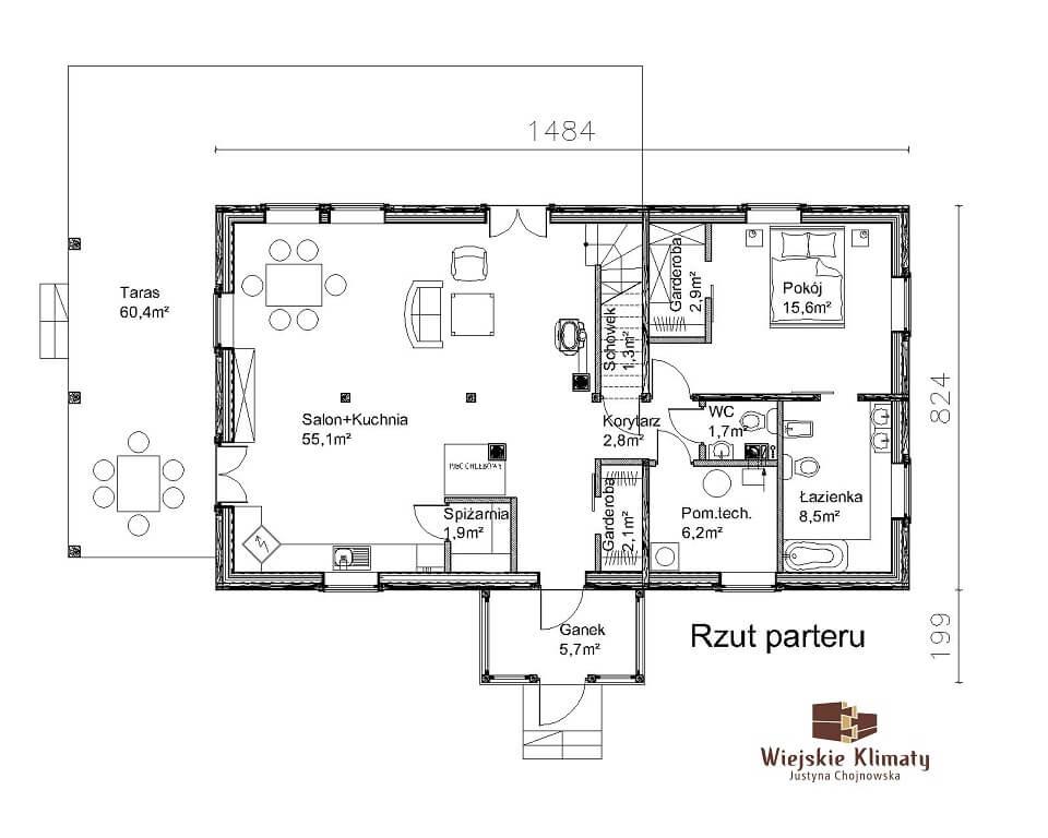 projekt domu z bali drewnianych listek 1,1