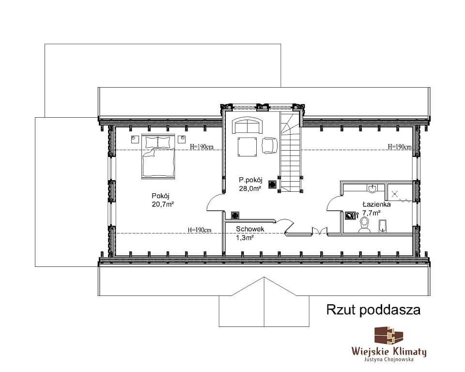 projekt domu z bali drewnianych listek 1,2