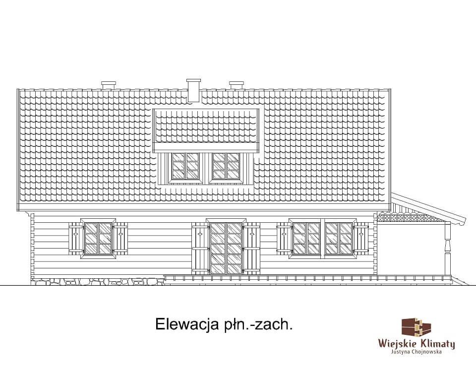 projekt domu z bali drewnianych listek 1,4