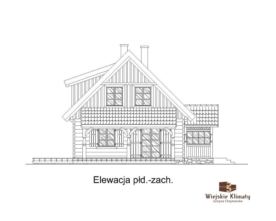 projekt domu z bali drewnianych listek 1,5