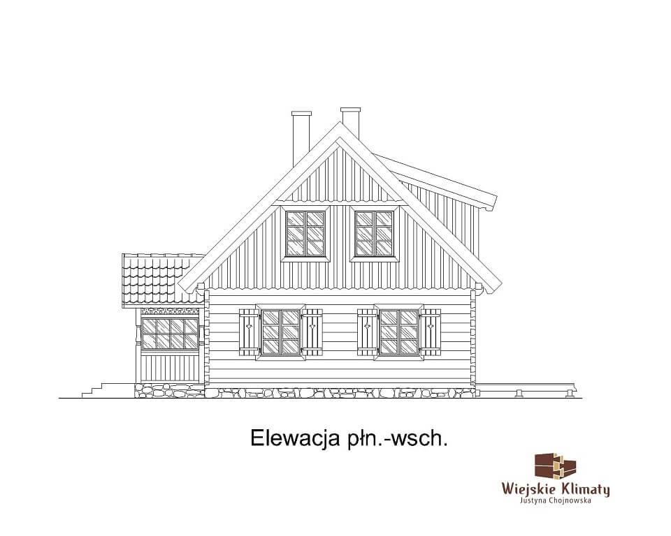 projekt domu z bali drewnianych listek 1,6